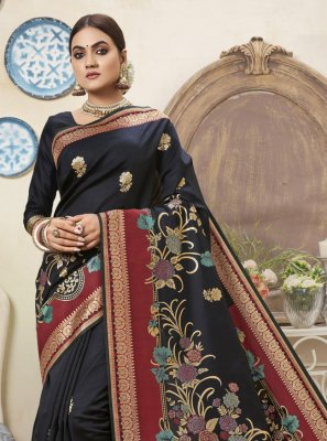 Traditional Designer Saree Weaving Art Silk in Black