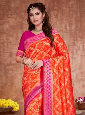 Traditional Designer Saree Weaving Art Silk in Orange