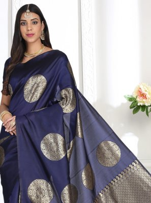 Traditional Designer Saree Weaving Banarasi Silk in Blue