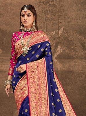 Traditional Designer Saree Weaving Banarasi Silk in Blue