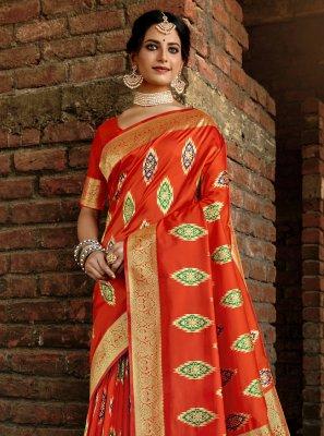 Traditional Designer Saree Weaving Banarasi Silk in Orange
