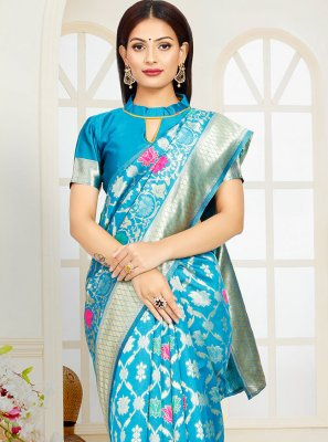 Traditional Designer Saree Weaving Poly Silk in Blue