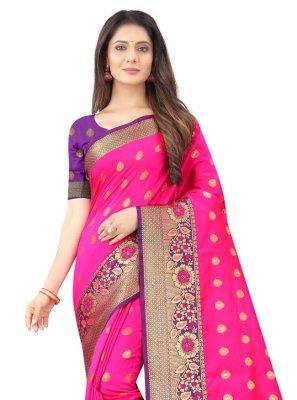 Traditional Designer Saree Weaving Silk in Hot Pink