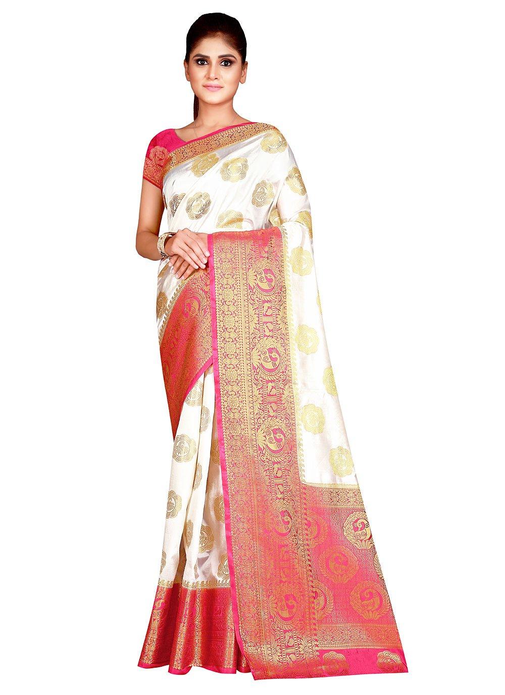 Traditional Designer Saree Weaving Silk in Off White