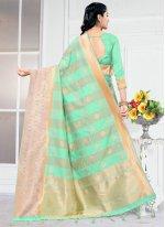 Traditional Designer Saree Weaving Silk in Turquoise
