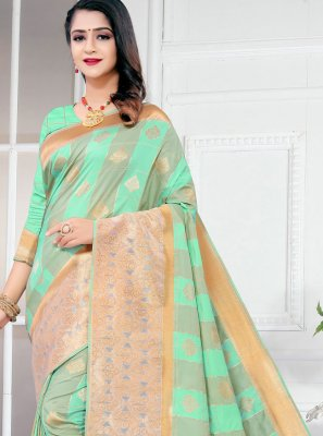 Traditional Designer Saree Weaving Silk in Turquoise