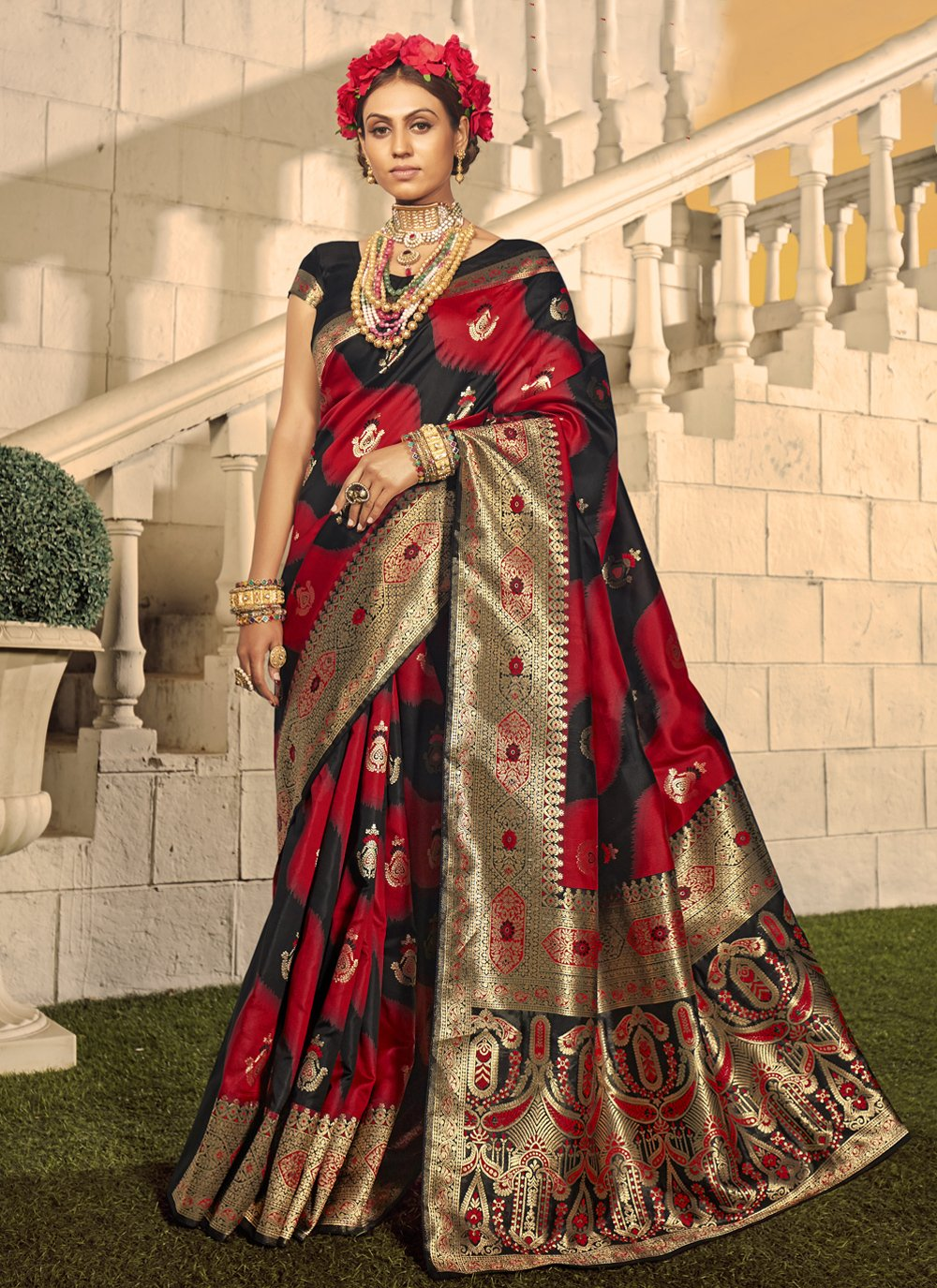 Traditional Designer Saree Woven Banarasi Silk in Black and Red