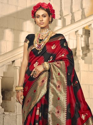 Traditional Designer Saree Woven Banarasi Silk in Black and Red