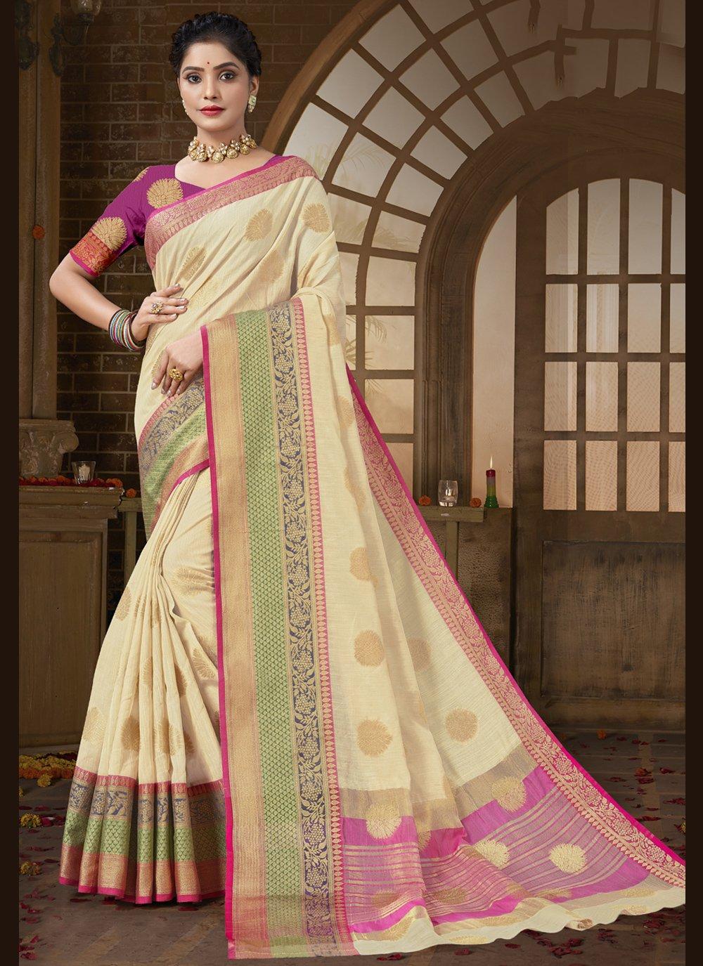 Traditional Designer Saree Woven Cotton Silk in Beige