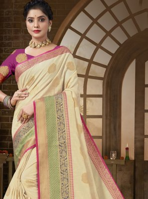 Traditional Designer Saree Woven Cotton Silk in Beige