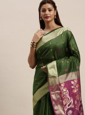 Traditional Designer Saree Woven Handloom Cotton in Green