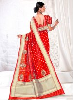 Traditional Designer Saree Woven Jacquard Silk in Red