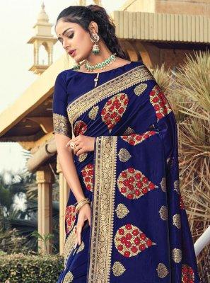 Traditional Designer Saree Woven Silk in Navy Blue