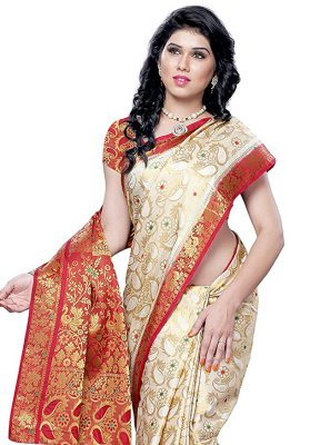 Traditional Designer Saree Zari Silk in Cream
