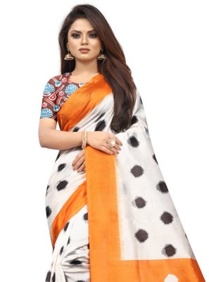 Traditional Saree Abstract Print Raw Silk in Off White