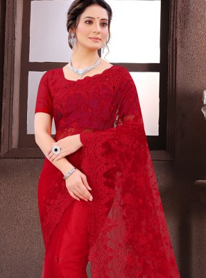 Traditional Saree Embroidered Net in Red