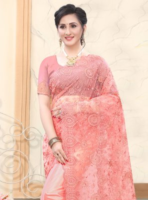 Traditional Saree Embroidered Net in Rose Pink