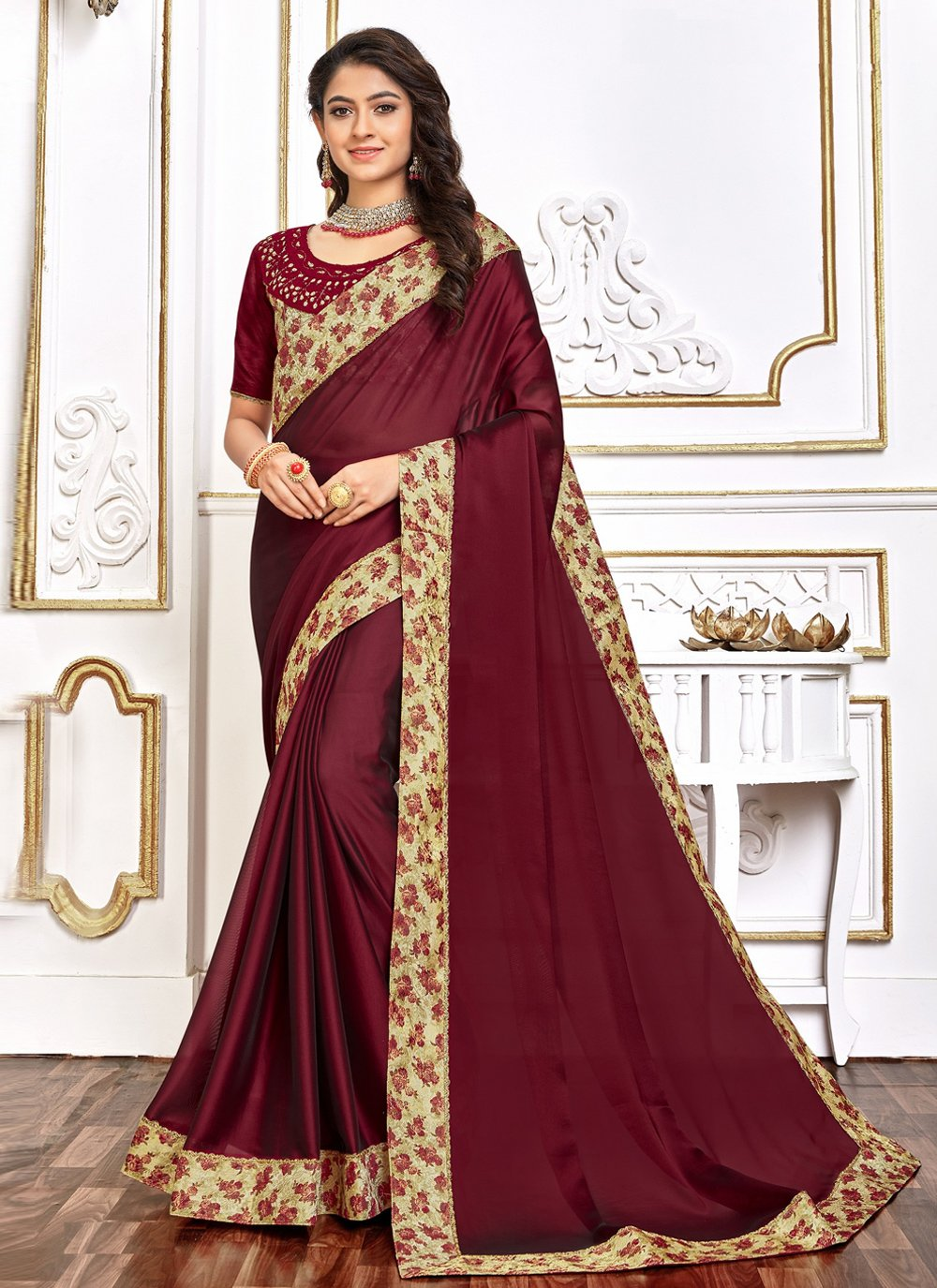 Traditional Saree Embroidered Poly Silk in Burgundy