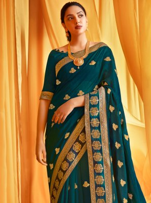 Traditional Saree Embroidered Silk in Teal