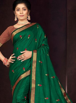 Traditional Saree Embroidered Vichitra Silk in Green