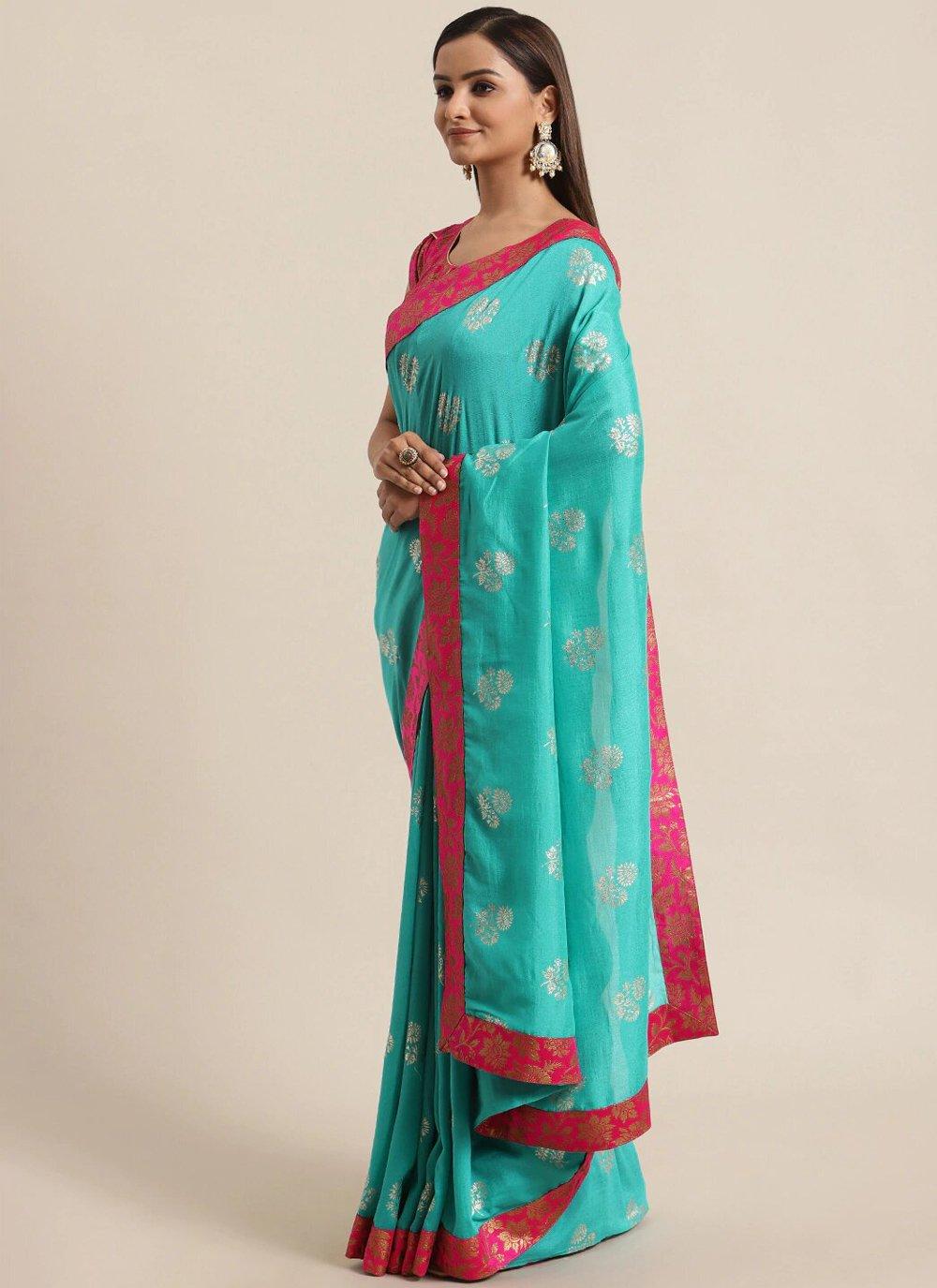 Traditional Saree Foil Print Silk in Blue