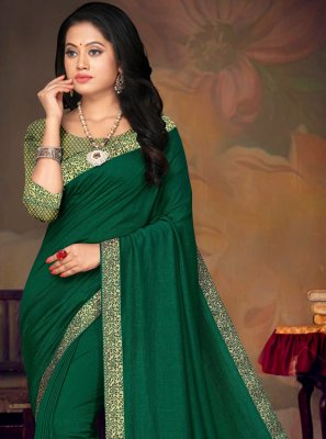 Traditional Saree Lace Art Silk in Green