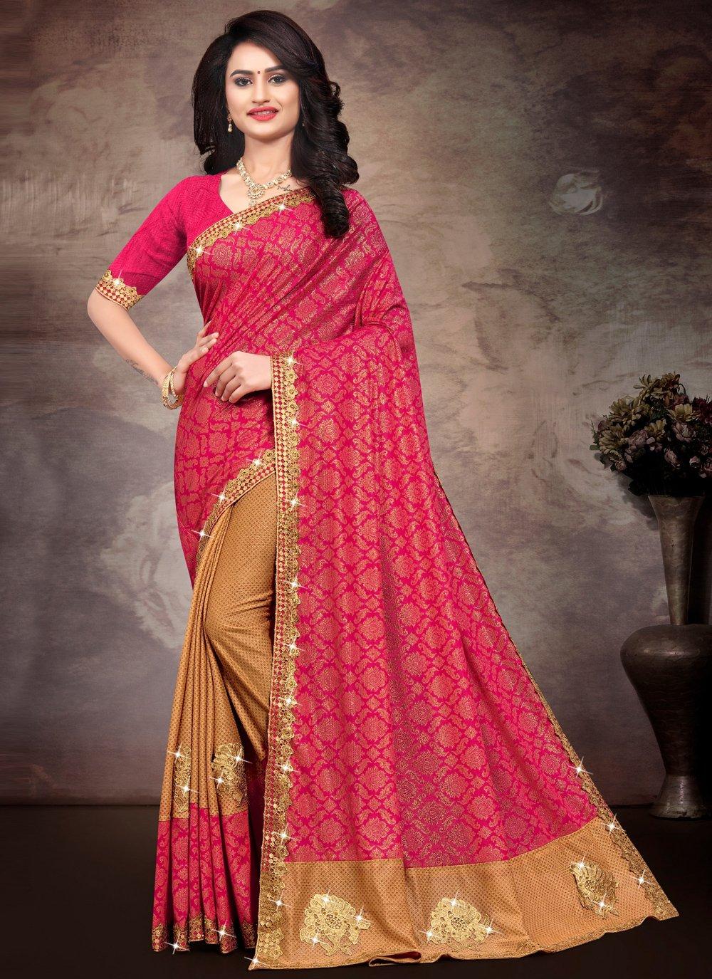 Traditional Saree Lace Silk in Multi Colour
