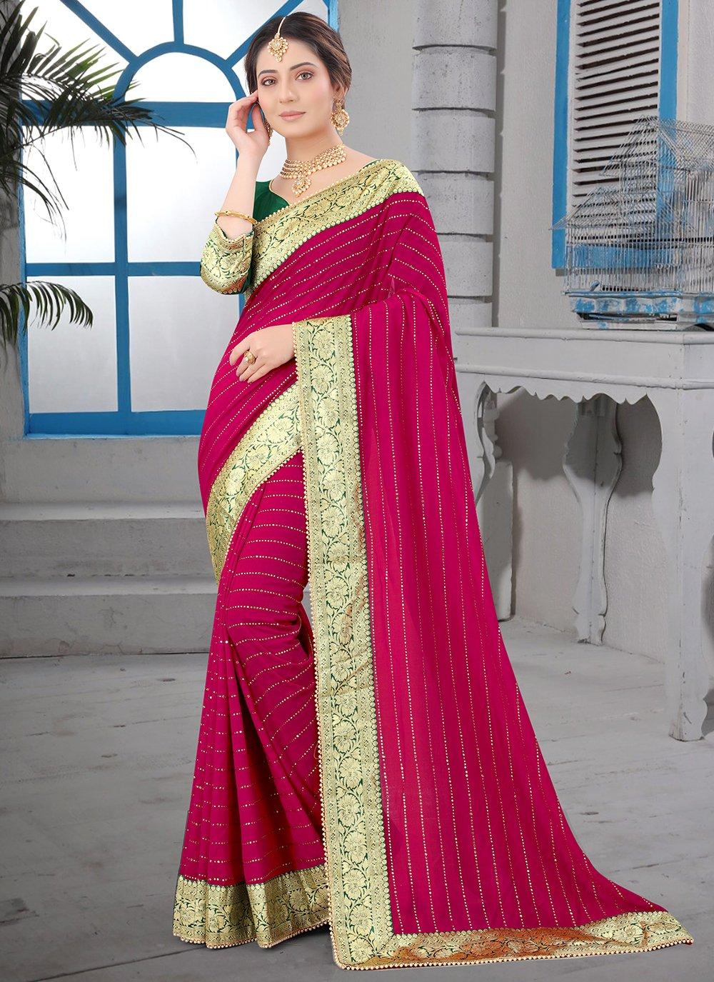 Traditional Saree Patch Border Silk in Rani