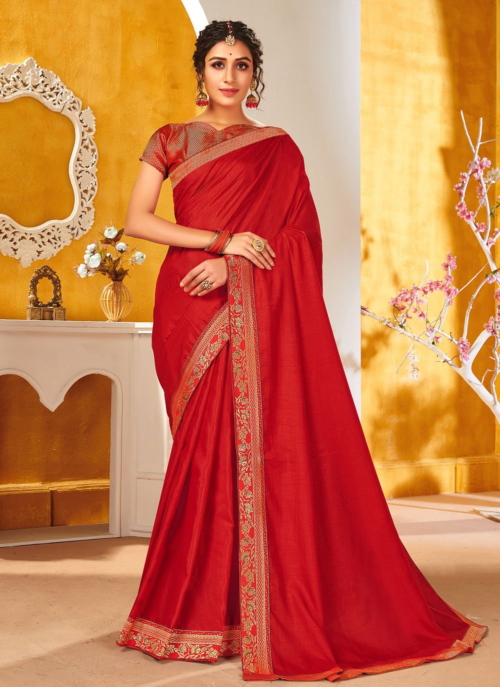 Traditional Saree Patch Border Vichitra Silk in Red
