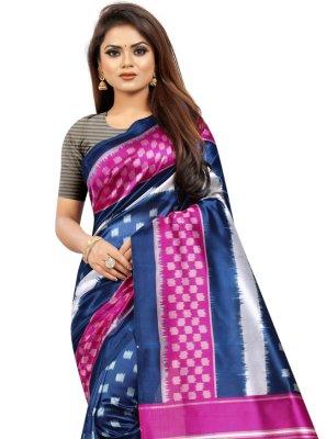 Traditional Saree Print Silk in Multi Colour
