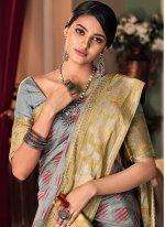 Traditional Saree Printed Silk in Grey