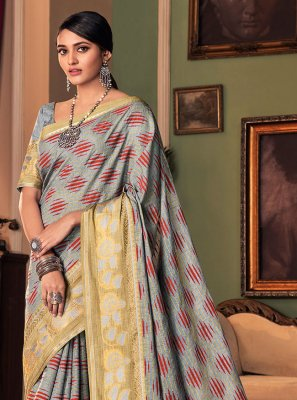 Traditional Saree Printed Silk in Grey