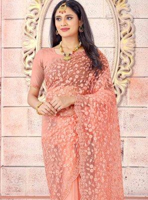 Traditional Saree Resham Net in Peach