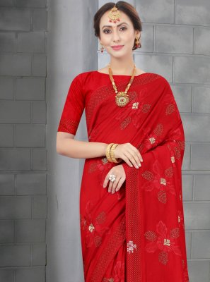 Traditional Saree Resham Silk in Red