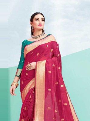 Traditional Saree Weaving Art Silk in Maroon