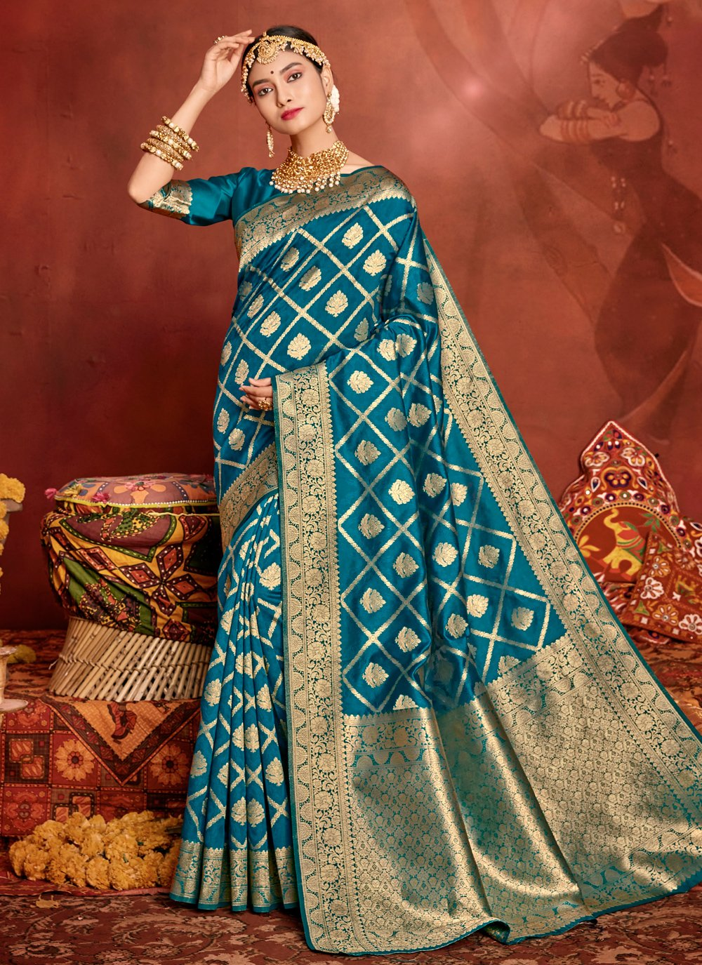 Traditional Saree Weaving Jacquard Silk in Turquoise