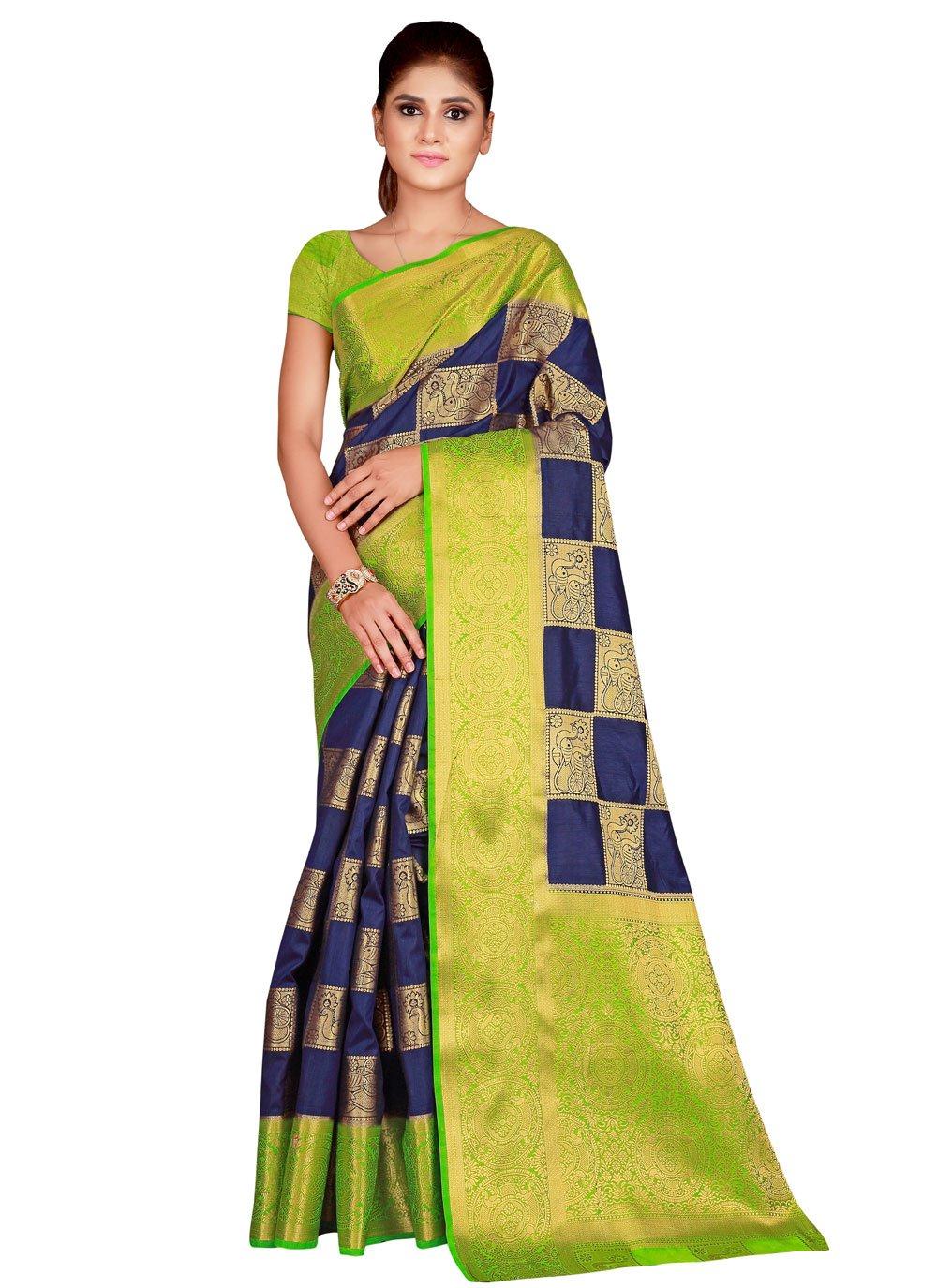 Traditional Saree Weaving Nylon in Navy Blue