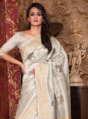 Traditional Saree Woven Art Silk in Grey