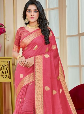 Traditional Saree Woven Cotton Silk in Pink