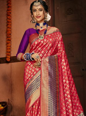 Traditional Saree Woven Silk in Red