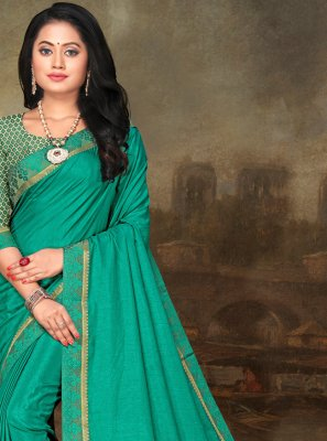 Turquoise Art Silk Lace Traditional Saree