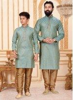 Turquoise Butta Jacquard Silk Kurta Pyjama