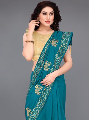 Turquoise Casual Printed Saree