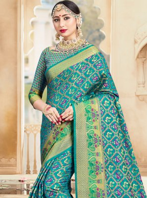 Turquoise Ceremonial Designer Traditional Saree