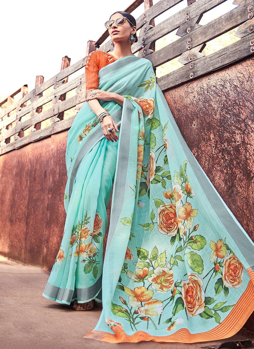 Turquoise Ceremonial Silk Saree
