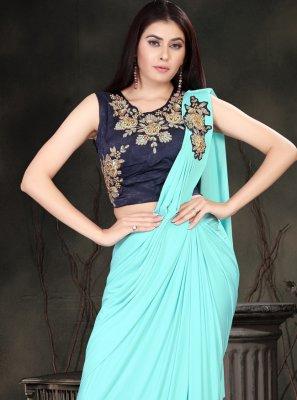 Turquoise Color Classic Saree