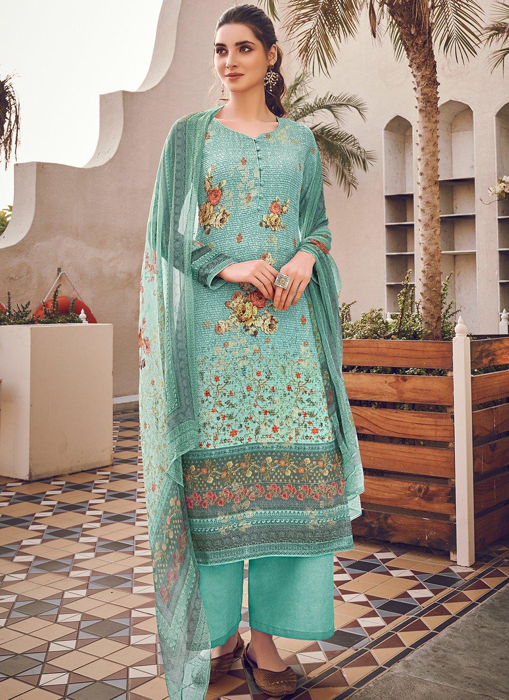 Turquoise Color Designer Pakistani Suit