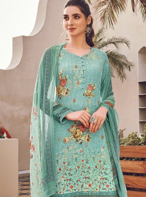 Turquoise Color Designer Pakistani Suit