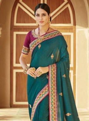 Turquoise Contemporary Saree