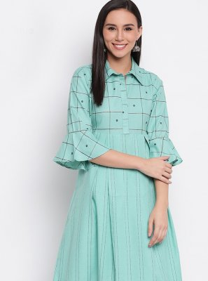 Turquoise Cotton Party Wear Kurti